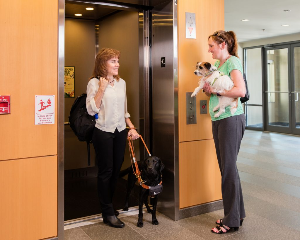 A woman and her black Lab guide dog step off an elevator